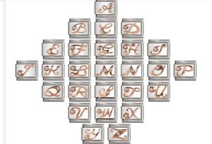 Rose Italian Charms Rhinestone All Letters Fits 9mm Italian Charm Bracelet UK