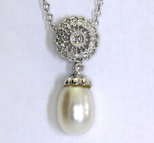 Diamond pearl pendant necklace 18K white gold 15 round brilliant tear drop .15CT