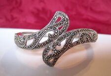 JUDITH JACK JJ 925 STERLING SILVER HEAVY MARCASITE HINGED BANGLE CUFF BRACELET
