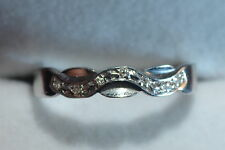 second hand 9ct white gold & diamond wave band ring size S 1/2 3.4g reduced sale