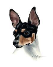Rat Terrier Dog Watercolor 8 x 10 Art Print by Artist Dj Rogers w/Coa