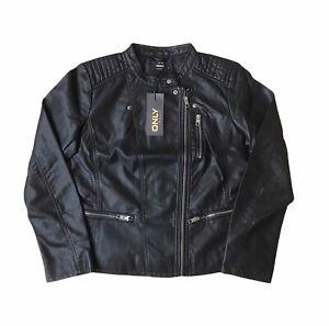 Ladies Biker Jacket Quality Soft Faux Leather Black Size UK 12 BNWT