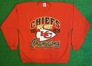 Vintage 1993 Kansas City Chiefs AFC West Champions Crewneck Men's Size 2X-Large