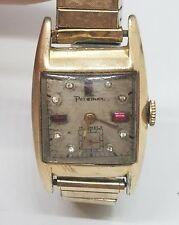 Vintage Art Deco Mens 10k RGP Palemar Red Cleat Stone Wrist Watch