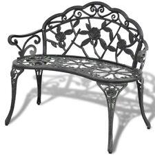 Bench Outdoor Garden Park Chair Seat Vintage Relax Cast Aluminium Green/White