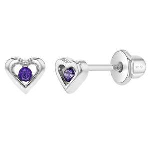 925 Sterling Silver Purple CZ Little Heart Screw Back Earrings for Baby Girls