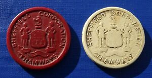 Sheffield Corporation Tramways, 1940's-50's Plastic Tokens, 1d and 1/2d~B134