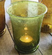 Rustic Moss Green Glass Hurricane Tea Light Holder, Votive Candle Holder Lantern