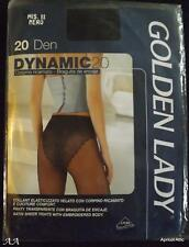 Pair of Black Satin Sheer Tights with Embroidered Body by Golden Lady Size Small