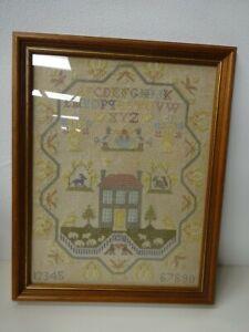 Vintage Handmade Sampler Cross Stitch Embroidery Framed Pastel Colours