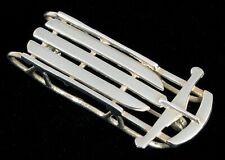 VINTAGE STERLING SILVER CHRISTMAS SNOW SLED SLEIGH BROOCH FLEXIBLE FLYER SHAPE !