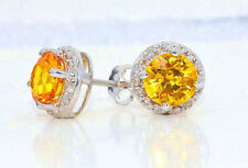 2 Carat Citrine & Diamond Round Stud Earrings 14Kt White Gold
