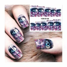 Nail Art Water Decals Stickers Transfers Purple BIG Eye Graphics Gel Polish s265