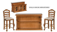 Bar & Two Bar Stools, Dolls House Furniture Miniature, 1.12 Scale