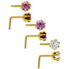 9CT GOLD NOSE STUD PIN WIRE 3.5MM WHITE PINK AMYTH CZ CUBIC ZIRCONIA CRYSTAL BOX