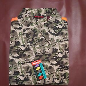 Snap On Camo Camouflage Long Sleeve Button Up Shirt Size Men's Large NEW