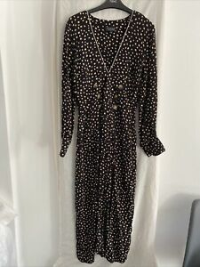 TOPSHOP Black Animal Print Long Sleeve Dress With Front Splits Dress Size UK 8