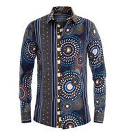 Camicia Uomo Con Colletto Fondo Blu Fantasia Multicolore Cerchi Righe Regular...