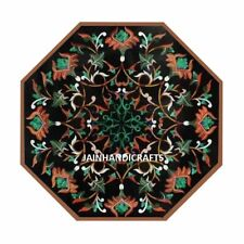 "18"" black marble table top center dining inlay lapis mosaic home decor G781"
