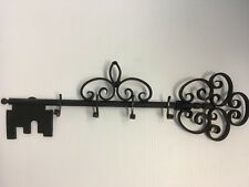 "Tuscan Black Wrought Iron Wall Key Rack 4 Hooks 15 5/8"" Long Vintage Scroll Work"