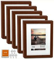 "CAVEPOP 8x10"" Mat 5x7"" Picture Frame 5 Piece Set- Walnut Wood"