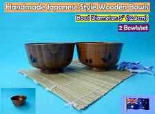 New Japanese Style Handmade Wooden Rice Bowls Dinner Set - 2 pcs/set (B151)