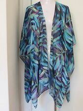 CHICO'S POLYESTER BLUE GREEN FLORAL PRINT SHEER OPEN FRONT PONCHO, FREE SIZE