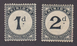 Trinidad 1885 Mint MH Unused Part Set 1d-2d Pence Surcharge Stamp To Pay SGD1-2