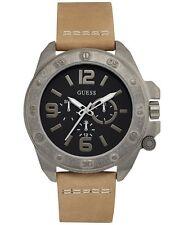 GUESS  Men's Tan Leather Strap Watch 46mm U0659G4