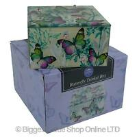 NEW Square Mirrored Butterfly Blossom Jewellery Trinket Box Leonardo Gift Box