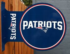 New England Patriots Flange Tin Metal Sign Double Sided NFL Football The Pats