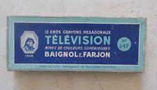 Ancienne Boite en Carton 12 Gros Crayons Télévisions N 649