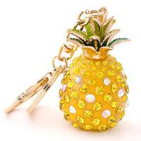 Chic Crystal Rhinestone Keyring Pineapple Pendant Bag Purse Car Key Chain LD