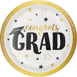 8 x Congrats Grad Graduation Paper Party Plates 18cm Goil Foil Finish