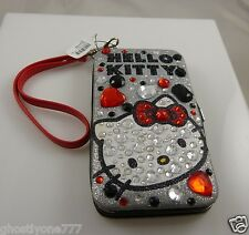 Hello Kitty cell phone wallet fits iphone 5 smart case  ID wristlet crystal red