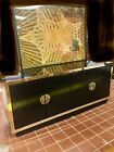 Brass and Lacquered Bar Buffet Credenza Asian campaign Style-READ ABOUT SHIPPING