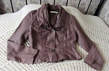 Quality mid brown jacket by SANDWICH Size 36 & 12 Linen cotton mix Ruched trim