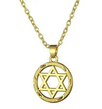 Golden Star of David Necklace Chain Jewish Pendant Shield Hexagram Circle UK