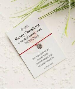 Teacher Christmas Wish Bracelet with snowflake charm. Personalised teacher gift