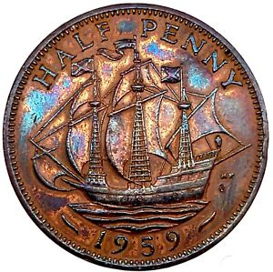 1959 GREAT BRITAIN 1/2 PENNY BRONZE CH BU PROOF  KM#896 WITH STUNNING TONING.