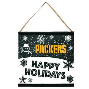 Green Bay Packers Happy Holidays Banner Sign Christmas Wall Door Decoration New