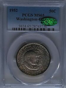 PCGS CAC Sticker 1952 WASHINGTON-CARVER Silver Half Dollar MS65 Color Toned USA*