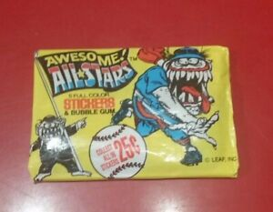 Vintage wax pack trading cards - Awesome All Stars stickers with bubble gum (Y)