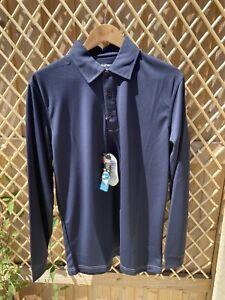 Sunice Long Sleeve Performance Polo Shirt, Navy Blue, Size Small, BNWT
