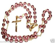 Catholic Rosary Necklace 6mm round glass beads purple color gold tone