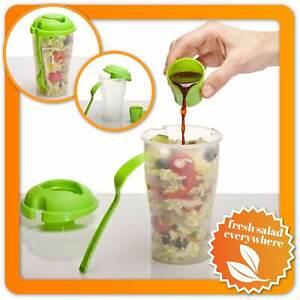 Salat-to-go-Becher mit Dressing Behälter & Gabel Salatcup 2 Go Salatbaker Shaker