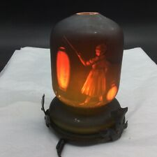 Schneider Antique French Cameo Night Light Lamp Girl Holding Red Paper Lantern