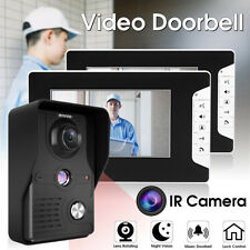 "Wired 7"" LCD Rainproof Video Doorbell Intercom System IR Camera 2-Monitor White"
