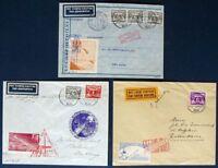 s1980) Raketenpost 3 Belege 1935 Niederlande P 12 + P 13  Roberti + Zucker