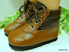 """MY TWINN Two-Toned BROWN Tall HIKING BOOTS DOLL SHOES fits 23"""" Poseable Doll"""